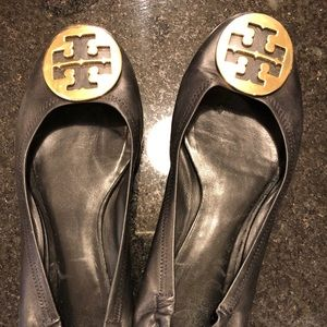 Tory Burch Black Reva Flat with Gold Buckle